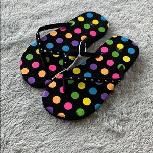 Kids black polka dot sandal beach flip flops